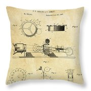 First True Motion Picture Projector Patent  1897 Throw Pillow
