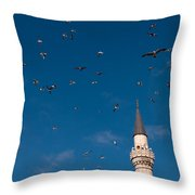 Firuz Aga Mosque Seagulls Throw Pillow