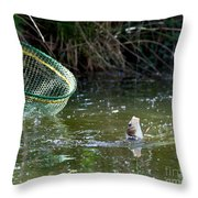 Fish Caught On A Line In Water Throw Pillow