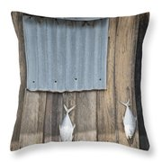 Fish Drying Outside Fisherman House Throw Pillow