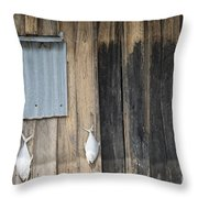 Fish Drying Outside Rustic Fisherman House Throw Pillow