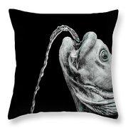 Fish Head Fountain Throw Pillow