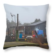 Fish House In Fog Throw Pillow