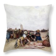 Fish Sale On The Beach  Throw Pillow by Bernardus Johannes Blommers
