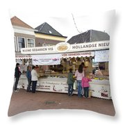 Fish Stall In The Market In Steenwijk Netherlands Throw Pillow