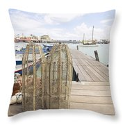 Fish Trap On Jetty In Penang Throw Pillow