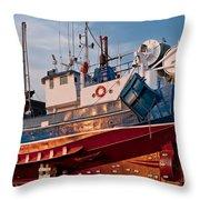Fish Trawler On Land Throw Pillow