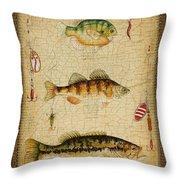 Fish Trio-c-green Throw Pillow