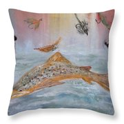 Fish With Bait Throw Pillow