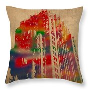 Fisher Building Iconic Buildings Of Detroit Watercolor On Worn Canvas Series Number 4 Throw Pillow