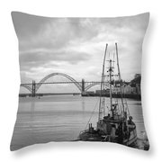 Fisherman At Newport Bay In Oregon Throw Pillow