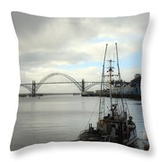 Fisherman At Newport Bay In Oregon II Throw Pillow