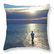 Fisherman At Sunrise Throw Pillow by Diane Diederich