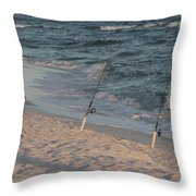 Fisherman At The Beach Throw Pillow