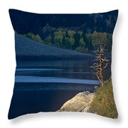 Fisherman On Lundy Lake Eastern Sierras California Throw Pillow