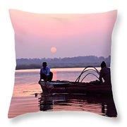 Fisherman On The Ganges River At Varanasi Throw Pillow