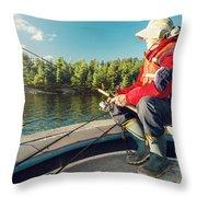 Fisherman Sitting On Foredeck Throw Pillow