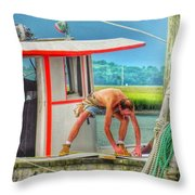 Fisherman Working On His Boat Throw Pillow
