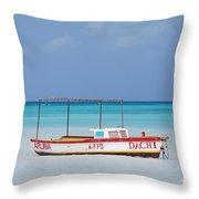 Fisherman's Beach In Aruba Throw Pillow