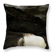 Fishermans Boat Parked On The Beach Throw Pillow