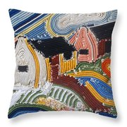 Fishermans Cottages String Collage Throw Pillow