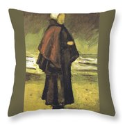 Fishermans Wife On The Beach Throw Pillow by Vincent Van Gogh