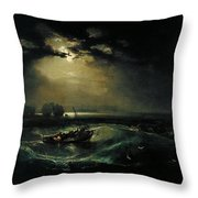 Fishermen At Sea Throw Pillow