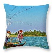 Fishermen Casting A Broad Net On Thu Bon River In Hoi An-vietnam Throw Pillow