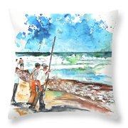 Fishermen In Praia De Mira 02 Throw Pillow