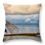 Fishermen In The Inle Lake. Myanmar Throw Pillow