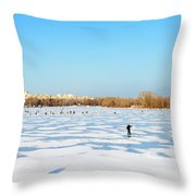 Fishermen On The Frozen River Throw Pillow