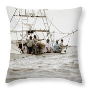Fishermen Reel In Line From The Back Throw Pillow