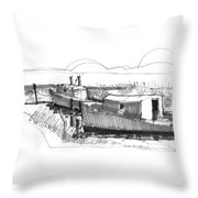 Fishers At Rest Ocracoke Nc 1970s Throw Pillow
