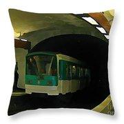 Fisheye View Of Paris Subway Train Throw Pillow