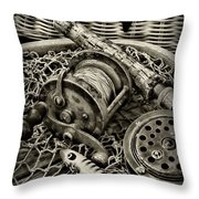 Fishing - All That Gear In Black And White Throw Pillow