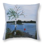 Fishing At First Connecticut Lake Throw Pillow