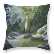 Fishing At The Falls Throw Pillow