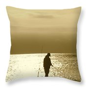 Fishing At Twilight Throw Pillow