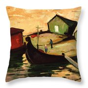 Fishing Barges On The River Sugovica Throw Pillow by Emil Parrag