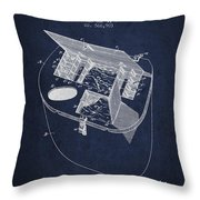 Fishing Basket Patent From 1896 - Navy Blue Throw Pillow