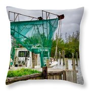 Fishing Boat And Pelicans On Posts Throw Pillow
