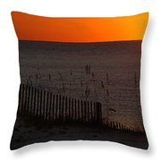 Fishing Boat And The Sunrise Throw Pillow