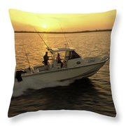 Fishing Boat Coming In At Sunset Throw Pillow