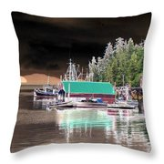 Fishing Boat Dock - Ketchican - Alaska - Photopower 02 Throw Pillow
