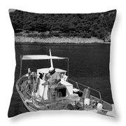 Fishing Boat In Asos Village Throw Pillow