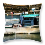 Fishing Boat In Rockport Throw Pillow