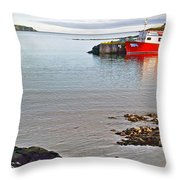 Fishing Boat Intwillingate Harbour-nl Throw Pillow