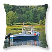 Fishing Boat Cape Neddick Maine Throw Pillow