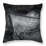 Fishing Boat On Shore In Black And White Throw Pillow
