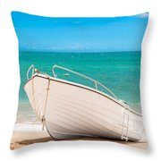 Fishing Boat On The Beach Algarve Portugal Throw Pillow
